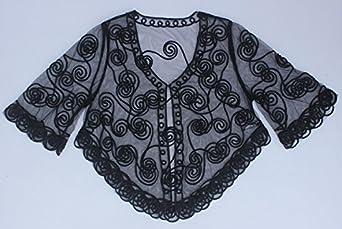 Lannister Stola Donna Elegante Vintage Trasparente Pizzo Pipistrello Cardigan Estivo Moda Sciolto Abbigliamento Irregolare Asimmetrico Sottile Prospettiva Top Camicia