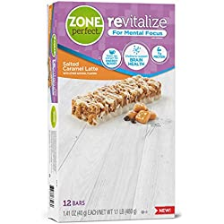 ZonePerfect Revitalize Energy Bars, with Caffeine For Mental Focus, Salted Caramel Latte, 1.41 oz, 12 count
