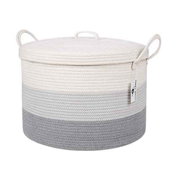 ComfyPro XXL Cotton Rope Basket with Lid (20 x 13 Inches) Sturdy Round Woven Decorative Storage Basket for Blankets, Toys, Laundry, Nursery – Long Durable Handles