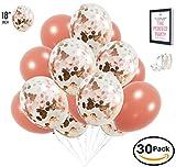 AZ Lifestyle Rose Gold Confetti Balloons - 30 Pack PREMIUM Large 18 inch | BONUS Ribbon + Ebook | For Bridal Shower Decorations, Engagement Party Decorations, Weddings, Birthdays, Gender Reveal, Prom