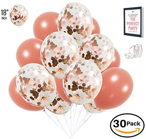 AZ Lifestyle Rose Gold Confetti Balloons - 30 Pack PREMIUM Large 18 inch   BONUS Ribbon + Ebook   For Bridal Shower Decorations, Engagement Party Decorations, Weddings, Birthdays, Gender Reveal, Prom -