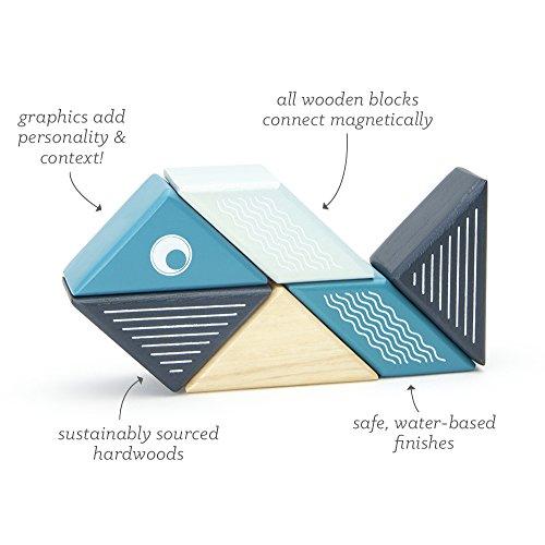 6 Piece Tegu Travel Pal Magnetic Wooden Block Set, Whale