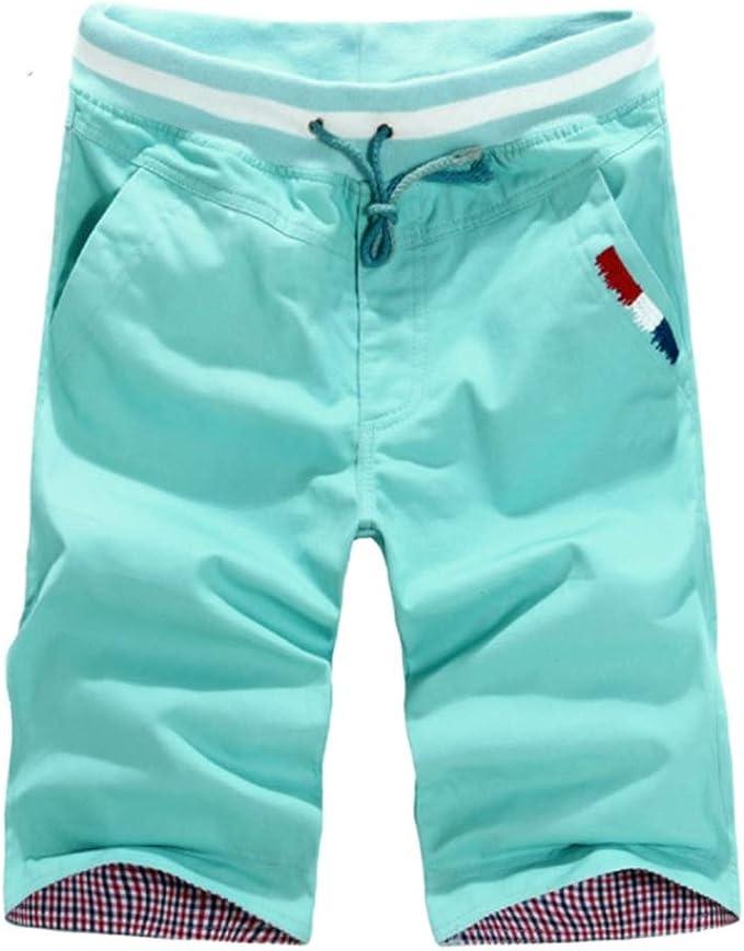 Wang-RX Pantalones Cortos de algodón para Hombres de Verano ...
