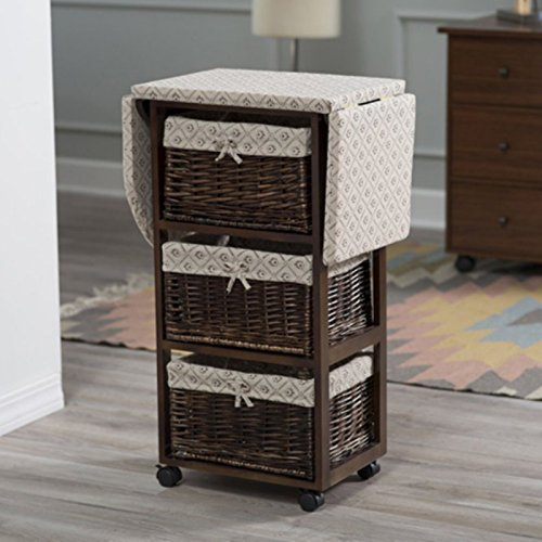Dark Brown Espresso Mobile Ironing Board Station Cart With Storage Baskets by Home Improvements (Image #2)