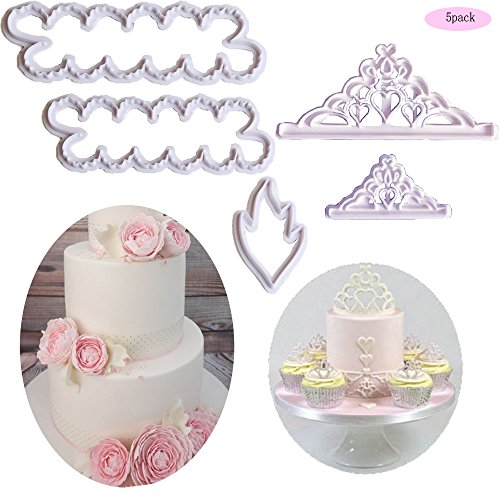 - The Easiest Crown Cookie Cutter Set,Tiara Cutter,Crown and Princess Crown,The Easiest Peony Rose Cookie Cutter CupCake Decorating Gumpaste Flowers Fondant Mould(Set of 5)