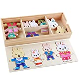 Wenini 1 Set Puzzle Wooden Toy - Cartoon 4 Rabbit Bear Dress Changing Jigsaw Puzzle Wooden Toy...