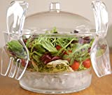 6.5 Quart Chilled Salad Bowl Set by Harcas. Ice Serving Tray Dish with Serving Utensils, Dome Lid, 4 Way Divider & Dip Cup/Server. Shatterproof Acrylic. Best For Fruit, Caesar Salad, Taco or Nuts.