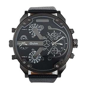 Malloom® hombres lujo militar ejército dual tiempo cuarzo dial grande reloj  de pulsera negro  Amazon.es  Relojes 178049e486d0