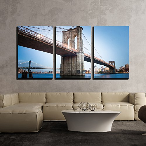 (wall26 - 3 Piece Canvas Wall Art - Brooklyn Bridge in New York City - Modern Home Decor Stretched and Framed Ready to Hang - 16