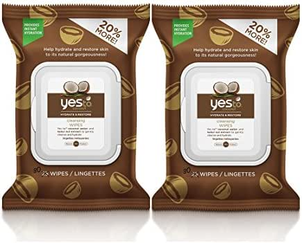 Yes to Coconut Hydrate & Restore Cleansing Wipes with Coconut Water and Kukui Nut Extract, 30 wipes (Pack of 2)
