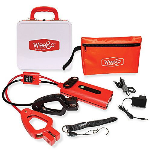 WEEGO 44 Jump Starter (2018 Model) 2100 Peak 400 Cranking Amps High Performance Lithium Ion Power Pack Quick Charges Phones 500 Lumen LED Flashlight Water Resistant USA Designed and Engineered