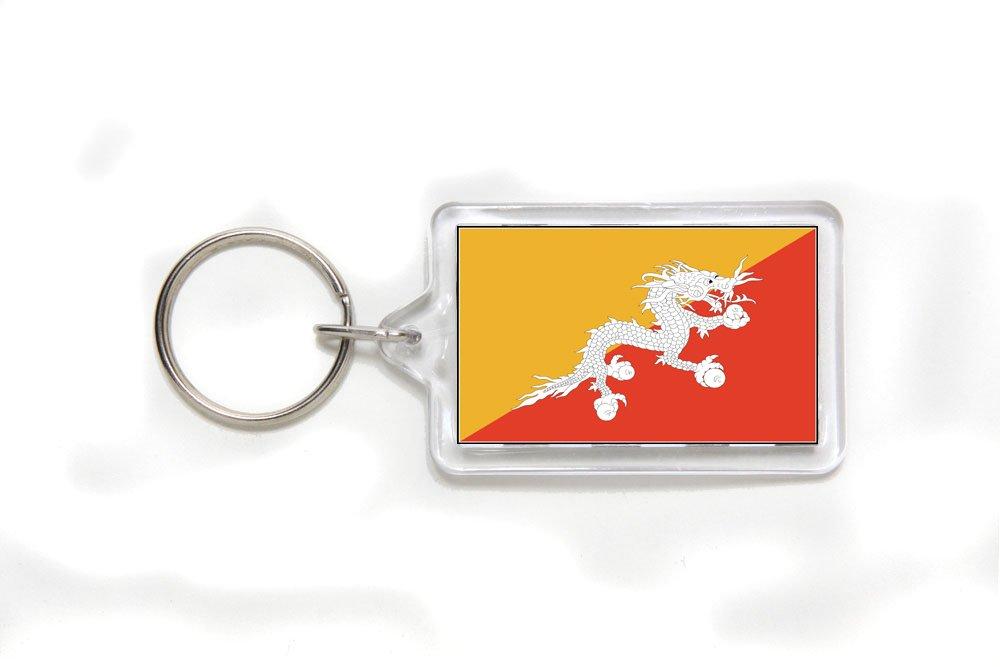 Bhutan Bhutanese Flag Double Sided Acrylic Key Ring Small