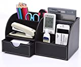 Evishine Office 7 Storage Compartments Multi-functional Pu Leather Desk Organiser Tidy Business Card Pen Mobile Phone Remote Control Holder Storage Box