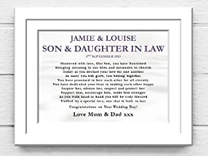 Wedding Photo Frame. Son and Daughter in Law Wedding Poem Canvas Gift ...