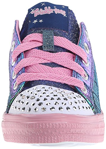 Skechers Twinkle Toes Chit Chat Light up Sneaker Lace-up - Navy/Pink