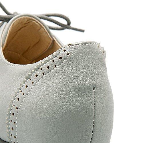 AllhqFashion Damen Rund Zehe Ziehen auf PU Leder Eingelegt Hoher Absatz Pumps Schuhe Weiß