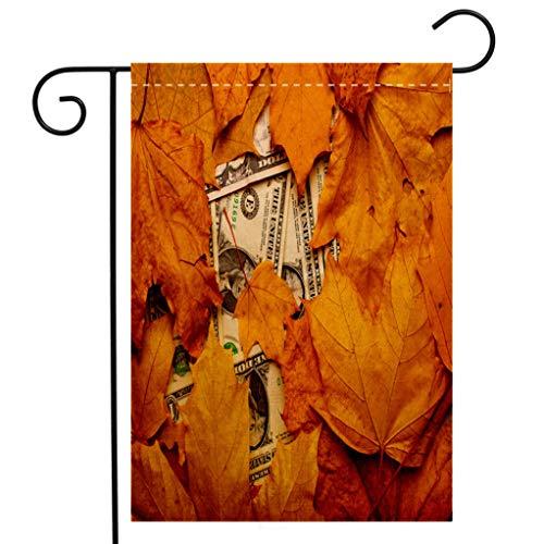 BEIVIVI Creative Home Garden Flag Dollar banknotes Under Fallen Leaves Closeup top View Welcome House Flag for Patio Lawn Outdoor Home Decor ()