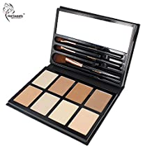 Hot Sweety Professionl Contour Kit Powder Makeup Palette with 8 Colors 3 Brushes for Highlighting and Shading Cruelty free