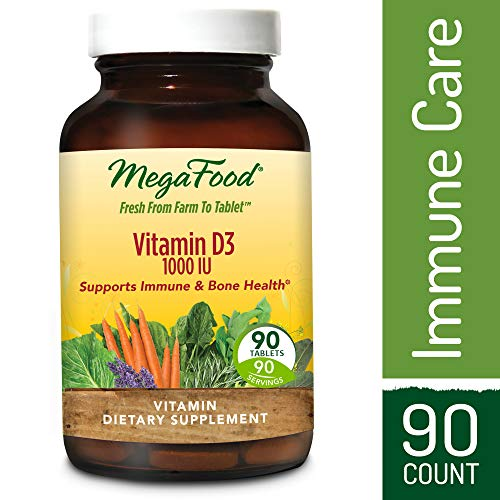 MegaFood - Vitamin D3 1000 IU, Support for Immune Health, Bone Strength, Hormone Production with Organic Herbs and Food, Vegetarian, Gluten-Free, Non-GMO, 90 Tablets