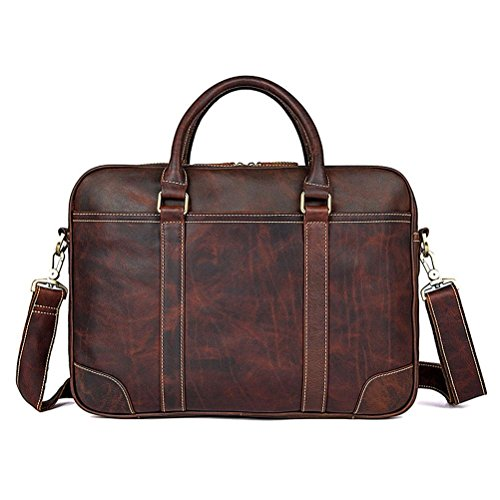 GTUKO JMD Vintage Style Genuine Leather Top Handbag Men'S Laptop Bag 7349Q , Chocolate chocolate