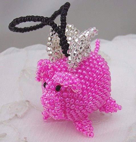 Handmade Beaded Czech Glass Bead Flying Pig Christmas Ornament #ID-192