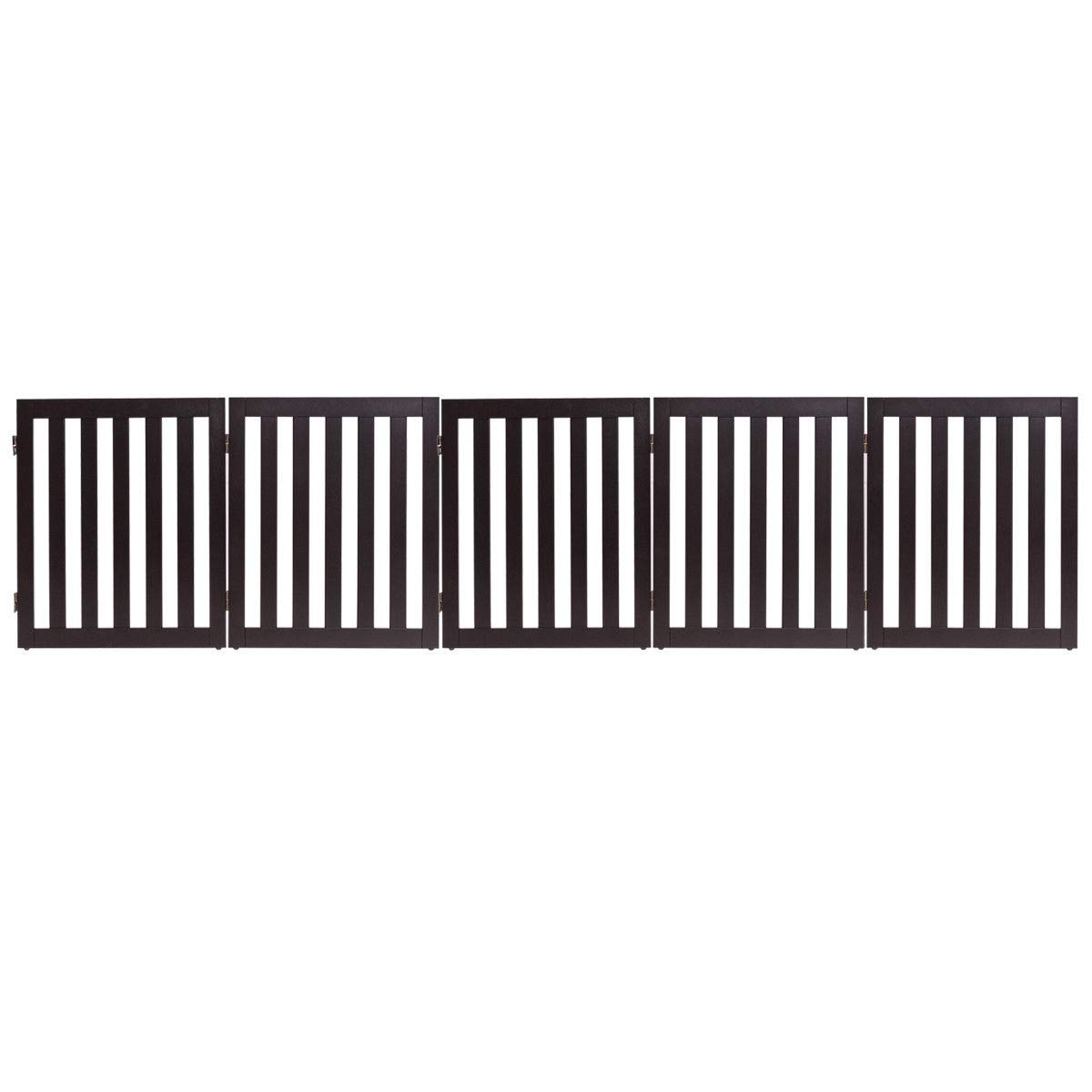 Giantex 24'' Wooden Doge Gate, Configurable Freestanding Pet Gate for Small to Medium Sized Pets, Step Over Fence, Foldable Panels for House Doorway Stairs Extra Wide Pet Safety Fence (100'' W, Brown)