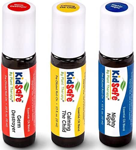 Plant Therapy Top 3 KidSafe Roll-On Set. 100% Pure, Therapeutic Grade Essential Oils Diluted in Coconut Oil. Includes: Germ Destroyer, Calming the Child and Nighty Night. 10 ml (1/3 oz) each.