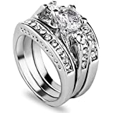 3pcs/set 925 Sterling Silver Gemstone Wedding Engagement Band Rings Sz 6-11 Gift LOVE STORY (#9)