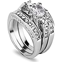 3pcs/set 925 Sterling Silver Gemstone Wedding Engagement Band Rings Sz 6-11 Gift LOVE STORY (#7)