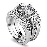 3pcs/set 925 Sterling Silver Gemstone Wedding Engagement Band Rings Sz 6-11 Gift LOVE STORY (#8)