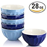 DOWAN 28 Ounce Porcelain Bowls Set for Cereal/Soup - Set of 6, Assorted Colors