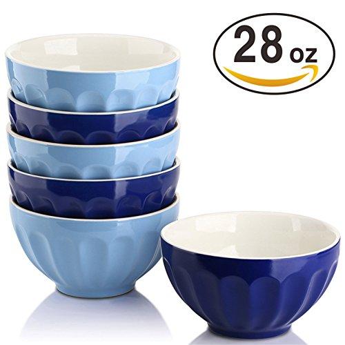 DOWAN 28 Ounce Porcelain Bowls Set for Cereal/Soup - Set of 6, Assorted (Blue Porcelain Bowl)