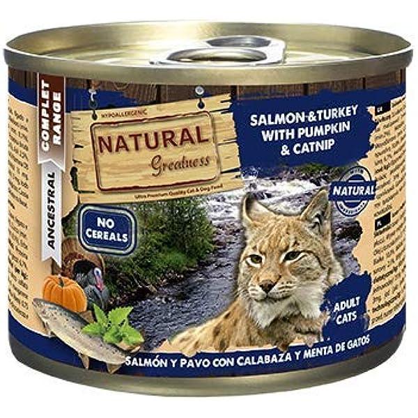 Natural Greatness Comida Húmeda para Gatos de Salmón y Pavo con ...