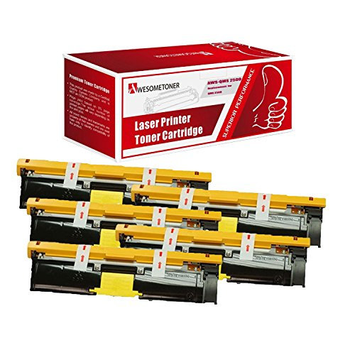 Awesometoner Compatible 5 Pack Toner Unit For QMS 2500 Y 1710587-005, Konica Minolta QMS Color Magicolor 2500W, 2530DL, 2550 High Yield Yellow 8000 Pages