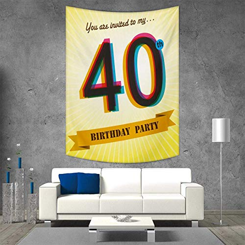 smallbeefly 40th Birthday Wall Tapestry Vintage Style Graphic Banner Party Invitation Theme Optical Striped Design Home Decorations for Living Room Bedroom 70W x 84L INCH Multicolor -