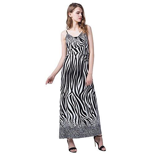 Sexy V Neck Backless Zebra Print Maxi Long Dress for Women Loose Sling Sleeveless