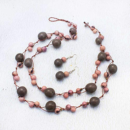 Pink and Gray Acai Seed Necklace and Earring Set, Double Strand Macrame Jewelry for Her, Fair Trade and Handmade