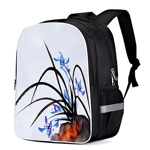 (Laptop Backpack Daypack China Traditional Ink Painting Durable Water Resistant School Bags for Kids Children Teen Girls Boys, Black Blue and White)
