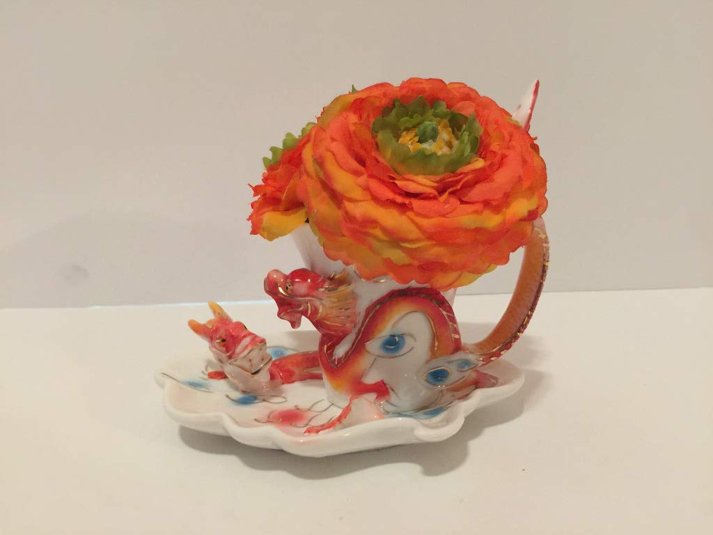 ANIMAL FUN - ORANGE FIGHTING DRAGONS VASE - ORANGE AND GREEN PEONIES - UNIQUE GIFT - SMALL RESIDENCES - DORM ROOMS - OFFICES - ANY OCCASSION