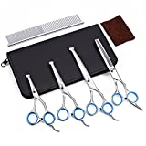 Dog Scissors with Round Tip, Set of 5 Dog Grooming Kit, Stainless Steel Pet Grooming Scissors for Full Body, Face, Nose, Ear and Paw (Blue)