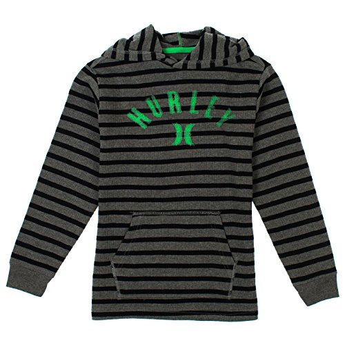 Hurley Big Boys Striped Long Sleeve Hooded Henley Top 18/20 Medium Grey Heather