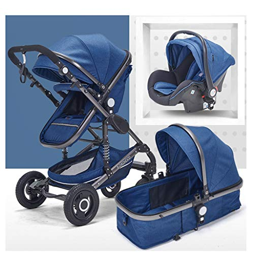 Luxury Baby Stroller 3 in 1 with Car Seat High Landscape Prams for Newborns Travel System Foldable Baby Carriage Trolley Walker (Color : Blue)
