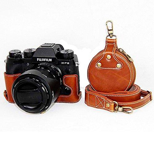 First2savvv Premium Qualität dunkelbraun Ganzkörper- präzise Passform PU-Leder Kameratasche Fall Tasche Cover für Fujifilm XT2 mit 18-55mm Lens mit Kameragurt -XJD-XT2-HD10S10 braun Kameratasche + 1xKameragurt