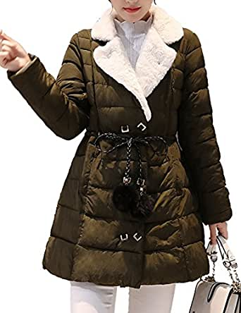 Aishang Women's Winter Sheep Lapel Double Breasted Pompon Drawstring Dress Coat