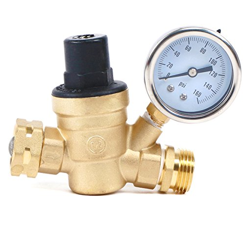 Water Regulator Valve- Lead Free Brass Adjustable RV Pressure Regulator with Pressure Gauge and Water Filter Net by U.S. Solid