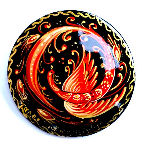 BuyRussianGifts Russian Hand Painted Pin / Brooch Firebird, Signed