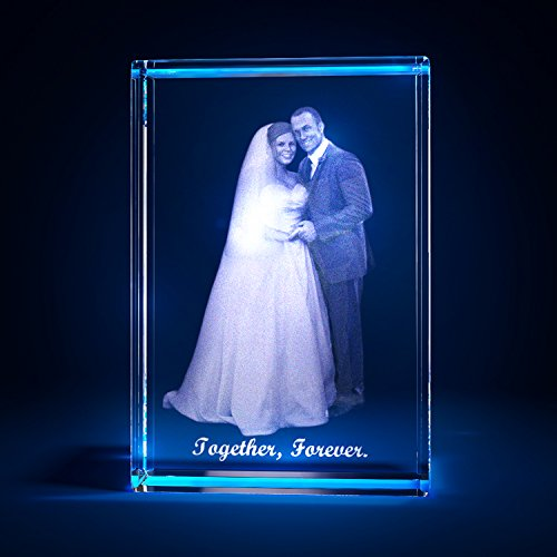 3D Laser Crystal Glass Personalized Etched Engrave Gift Wedding Portrait S Transperant Clear NEW