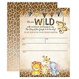 Jungle Safari Baby Shower Invitations, Safari Animal Invitation, 20 Fill in Invitations and Envelopes, Boy or Neutral Baby Shower Party, Monkey, Lion, Elephant, Giraffe