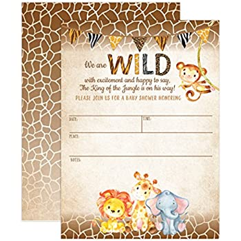 Amazon Com 50 Jungle Invitations And Envelopes Large Size