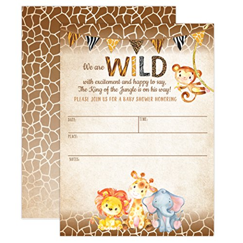 Jungle Safari Baby Shower Invitations, Safari Animal Invitation, 20 Fill in Invitations and Envelopes, Boy or Neutral Baby Shower Party, Monkey, Lion, Elephant, Giraffe ()